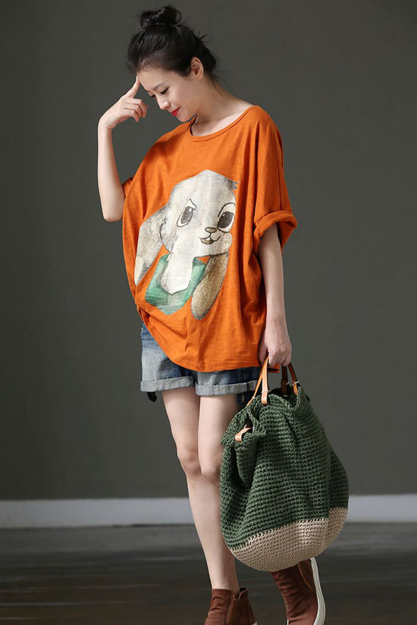 Loose Bat Sleeve Printed Thin T Shirt Women Blouse T102