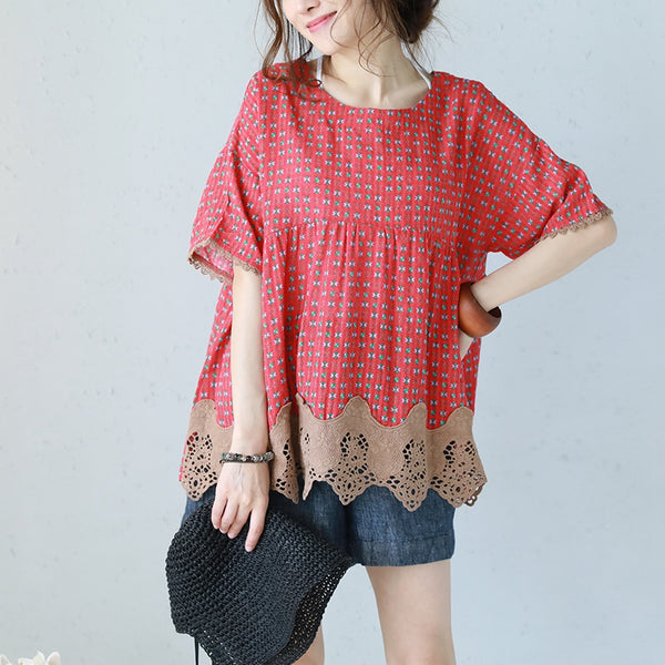 Korean Style Plus Sweep Doll Lace T Shirt Women Cotton Linen Blouse Q1158