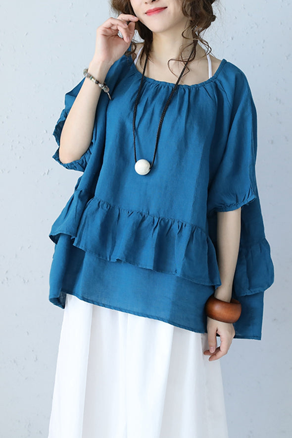 Casual Double Layer Flouncing Sweep A Line Linen T Shirt Q1065 - FantasyLinen