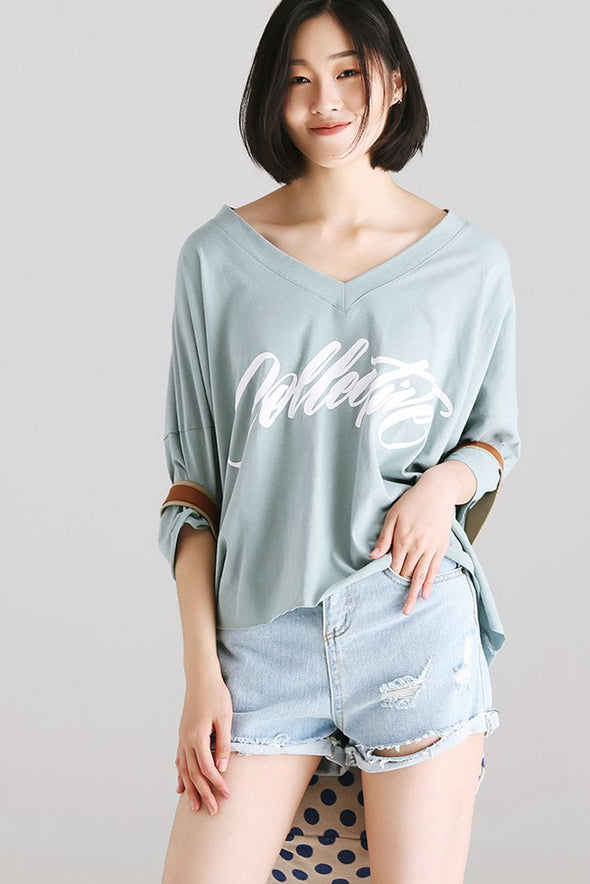 Loose V Neck Letter Print T Shirt Women Cotton Blouse T6200