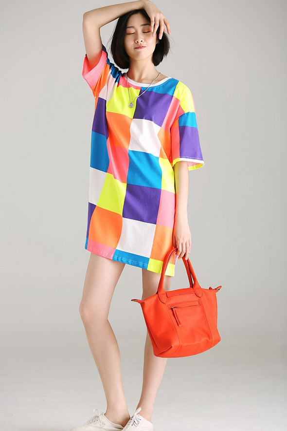 Cute Colorful Plaid Long T Shirt Women Cotton Blouse T3116