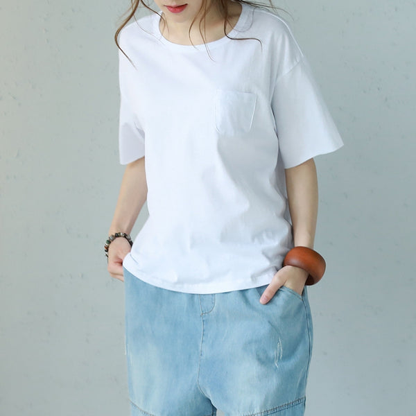 Summer Round Neck Cotton T Shirt Women Casual Blouse Q1152