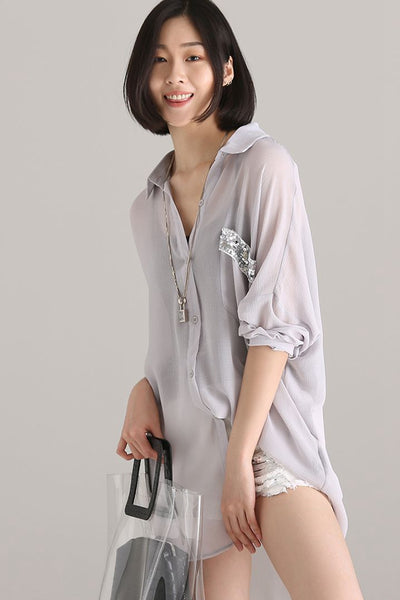 Casual Medium Length Gray Chiffon Shirt Women Print Blouse C7735