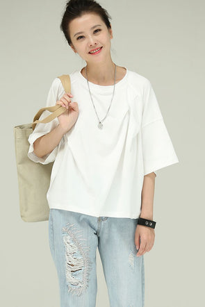A Line Ruffle Cotton Thin T Shirt Women Blouses T8161 - FantasyLinen