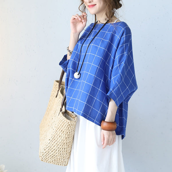 Loose Blue Plaid Linen Button Down T Shirt Women Tops Q1088