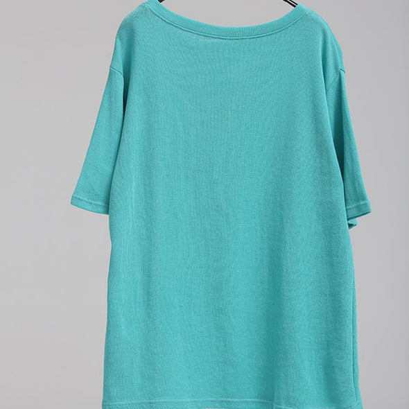 Loose Round Neck Letter Printed Green Short T Shirt Women Tops T6798