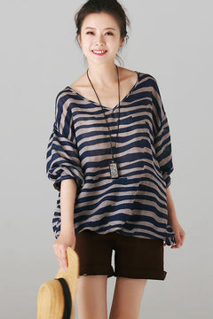 Loose Striped Thin T Shirt Women Summer Blouse C8613