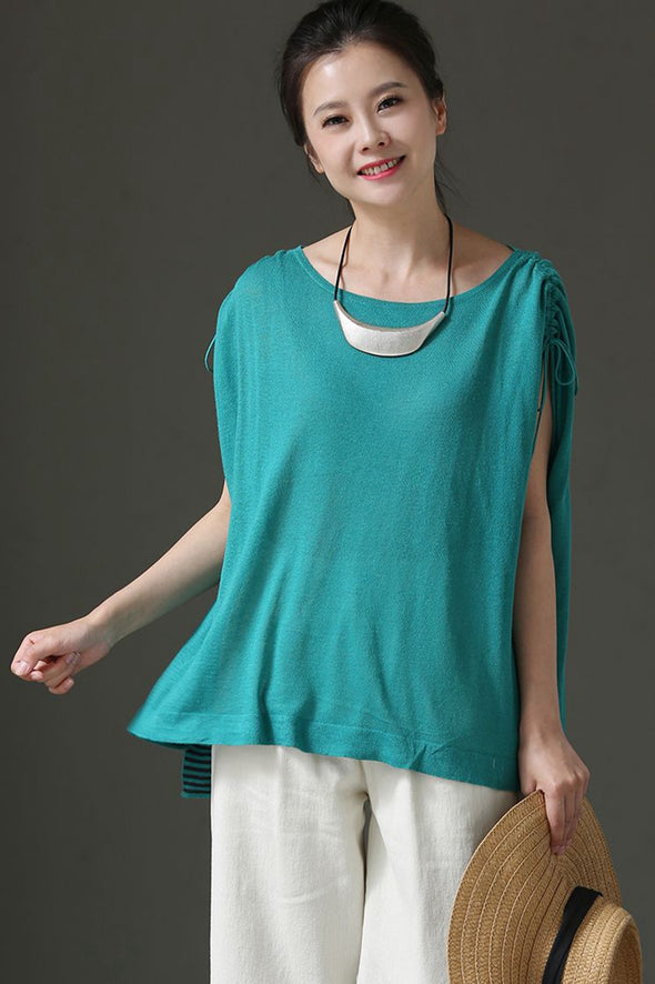 Casual Round Neck Drawstring Sleeveless Green Thin T Shirt T65 - FantasyLinen