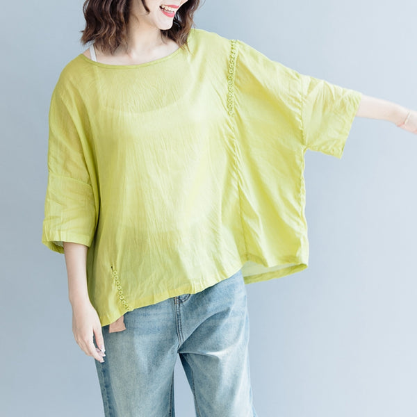 Loose Cotton Linen T Shirt Women Summer Blouse S2071