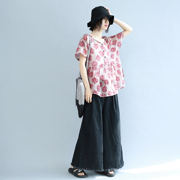 High Waist Floral Loose Doll T Shirt Women Blouse S0464