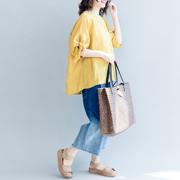 Casual Yellow Linen T Shirt Women Loose Blouse S2072