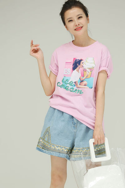 Cute Loose Printed Pink Cotton T Shirt Women Blouses T5288