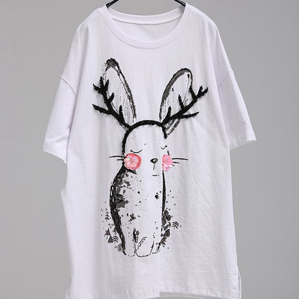 Cute Korean Style Loose Printed White Cotton T Shirt Women Tops T1890
