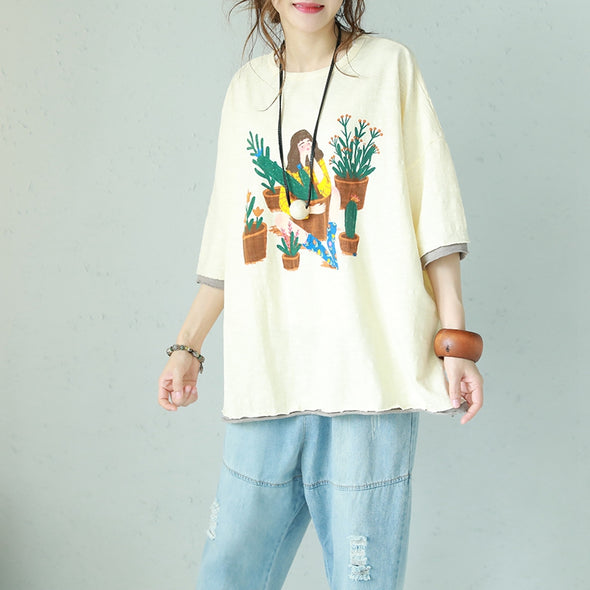 Casual Print Cotton T Shirt Women Loose Blouse Q1130 - FantasyLinen