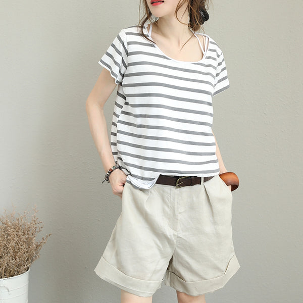 Summer Cute Striped Cotton T Shirt For Women Q1266