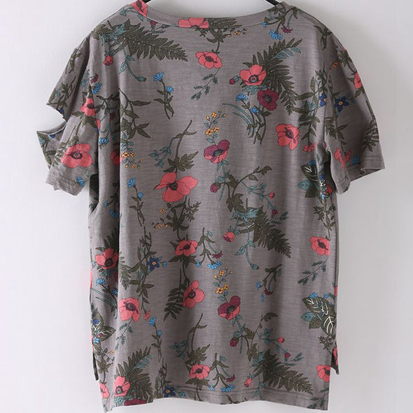 Loose Round Neck Print Floral T Shirt Women Gray Blouse T5015