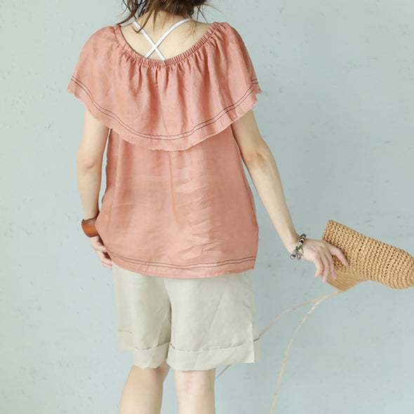 Cute Casual Ruffled Collar Linen T Shirt Women Blouse Q1105