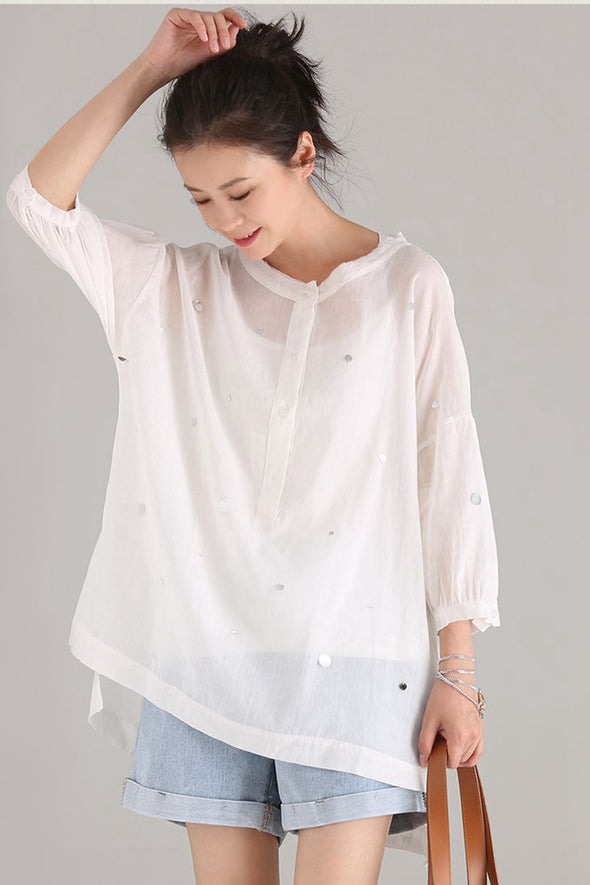 Fashion Round Neck Cotton Linen Medium T Shirt Women Tops C1891