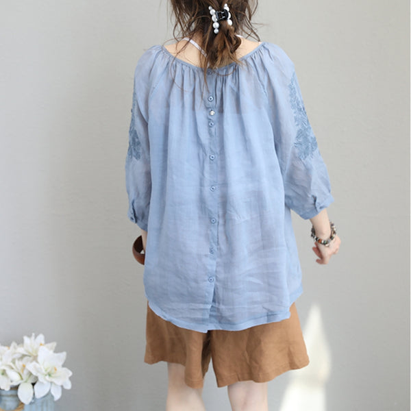 Loose Embroidery Linen T Shirt Women Casual Linen Q1151