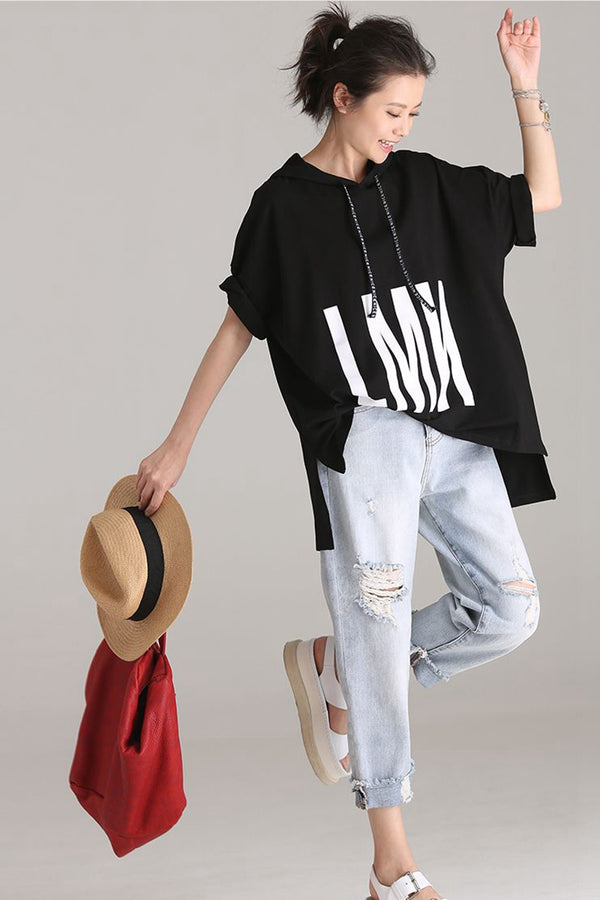 Fashion Hoodie Letter Printed T Shirt Women Tops T113