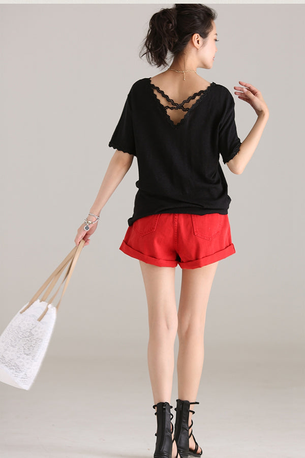 Loose V Neck Cotton T Shirt Women Lace Blouse T6570