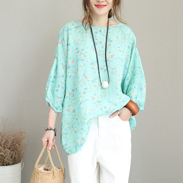 Loose Plus Size Floral T Shirt Women Linen Blouse Q1211