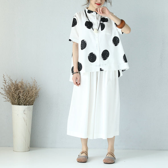 Casual Dot Print T Shirt Linen Clothes For Women Q980 - FantasyLinen