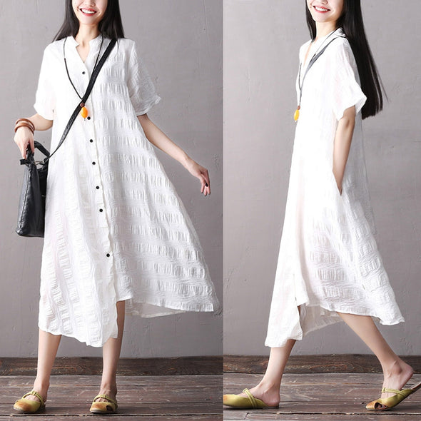 Casual Cotton Linen Long T Shirt Women Summer Blouse S1864