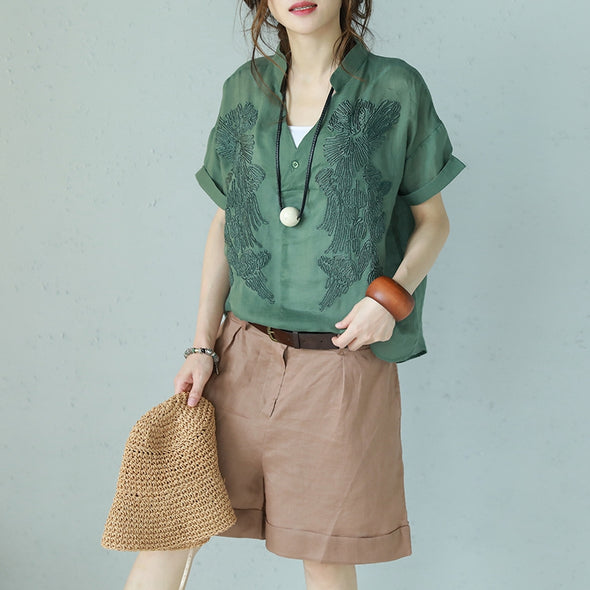 Cute V Neck One Button Linen T Shirt Women Tops Q1116