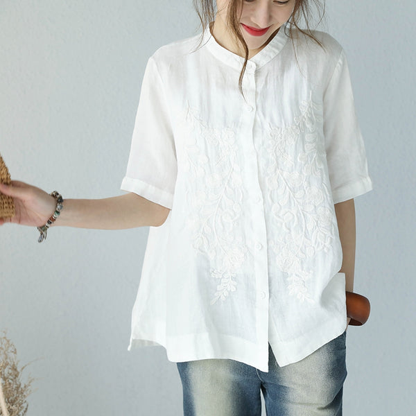 Summer Stand Collar A Line Embroidery Doll T Shirt Women Blouse Q1006