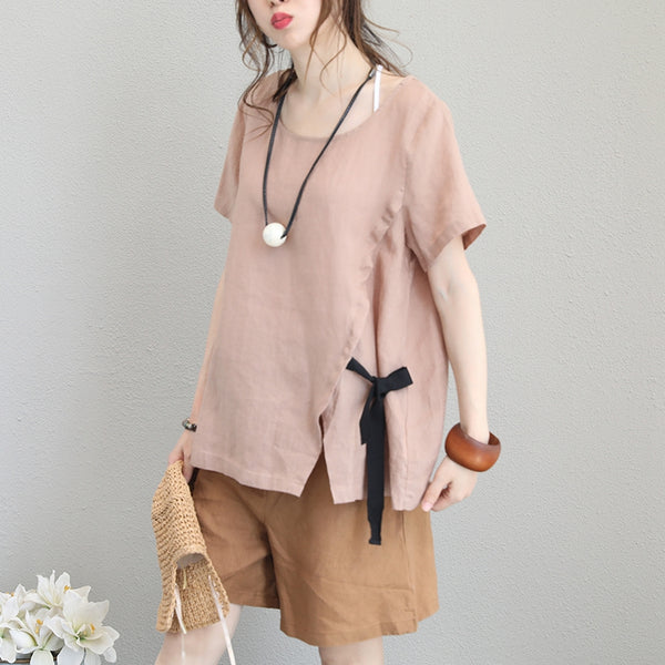 Korean Style Casual Loose T Shirt Women Linen Blouse Q1150