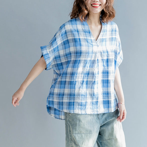 Bat Style V Neck Loose Plaid Cotton Linen T Shirt Women Blouse S0461 - FantasyLinen