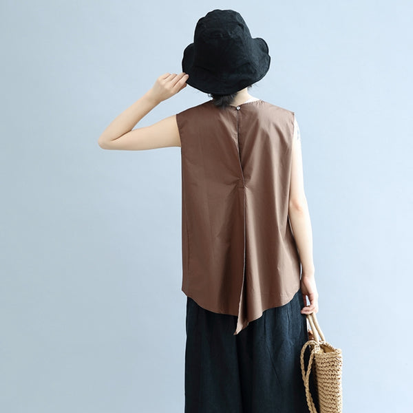 Fashion Back Furcal Cotton Vest Women Blouse S3055