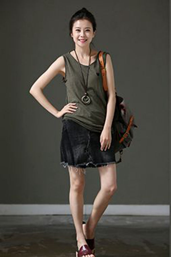 Loose Embroidery Cartoon Sleeveless T Shirt Cotton Vest For Women B882