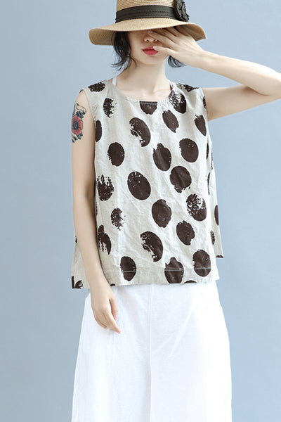 Cool Loose Dot Cotton Linen Vest Women Summer Tops S0463