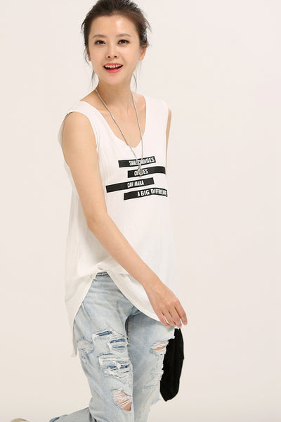 Loose Letter Printed Sleeveless Thin Dacron Vest Women T Shirt B3062