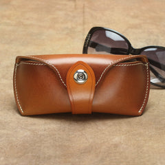 Retro Vintage Unisex Useful Brown Handmade Leather Sunglasses Case