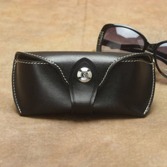 Retro Vintage Unisex Useful Black Handmade Leather Glasses Case