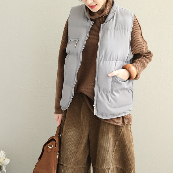 Casual Simple Pure Color Short Down Waistcoat For Women Q1820