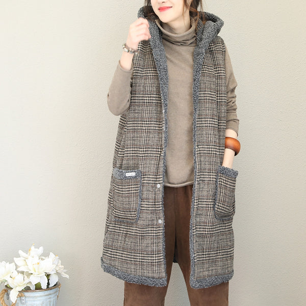 Fashion Casual Plaid Hoodie Medium Length Thicken Waistcoat For Women Q1731