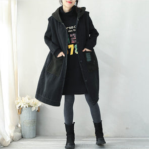 Black Hoodie Brushed Thicken Waistcoat Women Casual Tops Q1938
