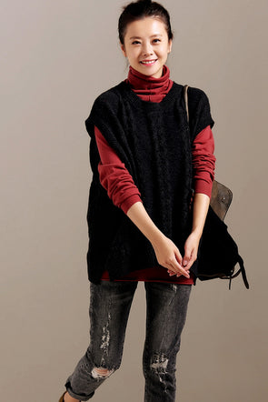 Women Vintage Knitted Loose Waistcoat Casual Tops V1836