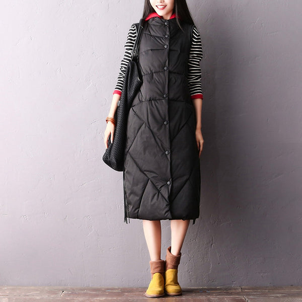 Winter Casual Hoodie Black Thicken Long Waistcoat For Women V2211