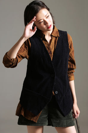 Casual Vintage Button Down Waistcoat Women Fashion Tops V1300