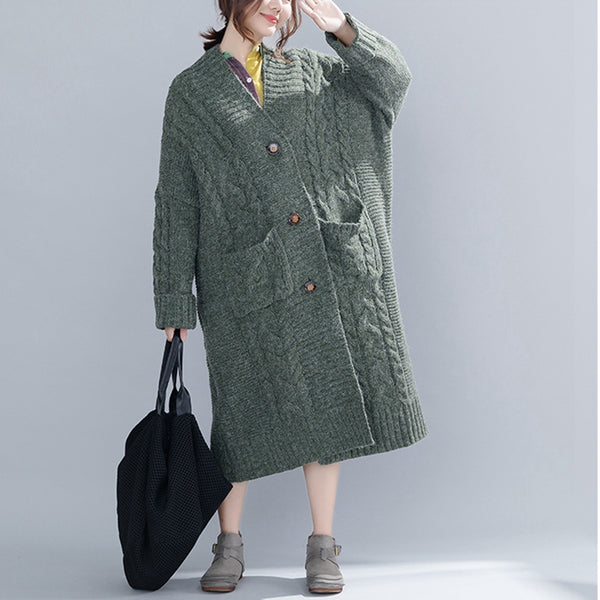 Casual Loose Button Down Long Sweater Coat For Women C2214