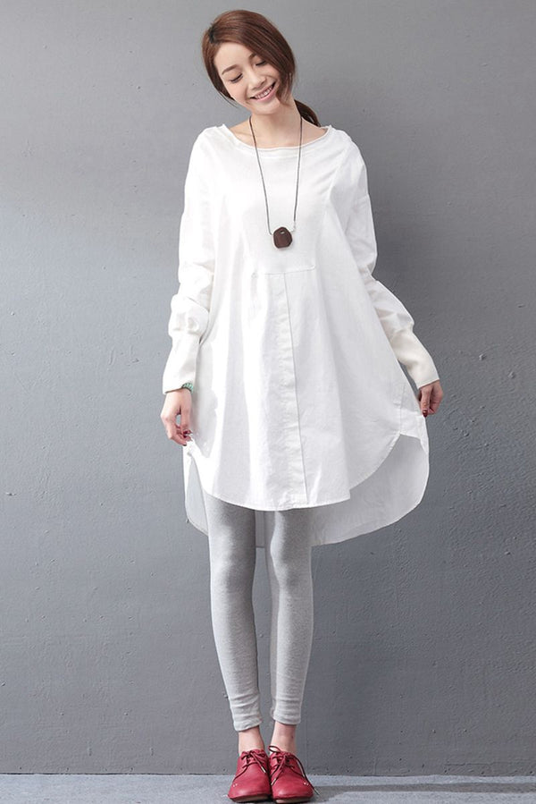 Cotton White Dress Women Clothes - FantasyLinen