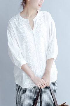 Spring And Summer Casual Loose White Linen Shirt For Women