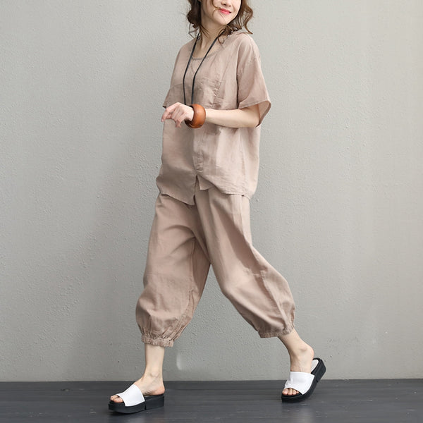 Vintage Linen Suit Short T Shirt With Harem Pants Women Two Piece Q1080