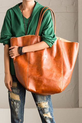 Korean Style Vintage Genuine Leather Simply Head Layer Cowhide Handbag Tote D2009A