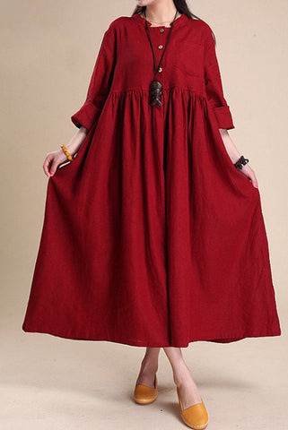 Simple Atmospheric Linen Maxi Dress Women Tunic Clothes